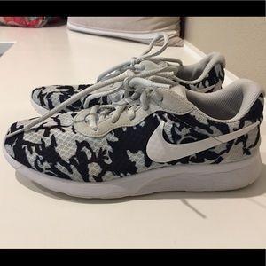 Blue camo Nike shoes